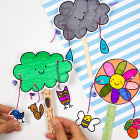 How to make adorable spring Paper pull crafts with kids- Cute rain cloud, flower, and tree doodle printables included