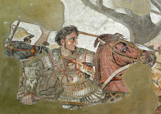 Alexander the Great on a fragment of Roman mosaic from Pompeii