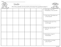 Blank Calendars and Calendar Questions Example