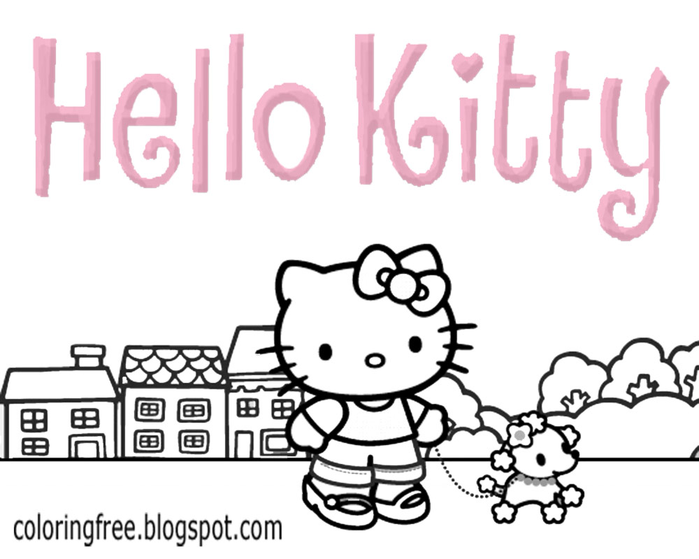 Tiny Poodle Dog And Cat Hello Kitty Coloring Sheet Free Wonderful Big Printable For Teenage Children