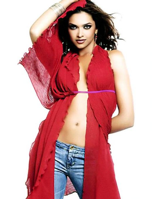 Bollywood Actress Deepika Padukone Photoshoot In Red Bikini