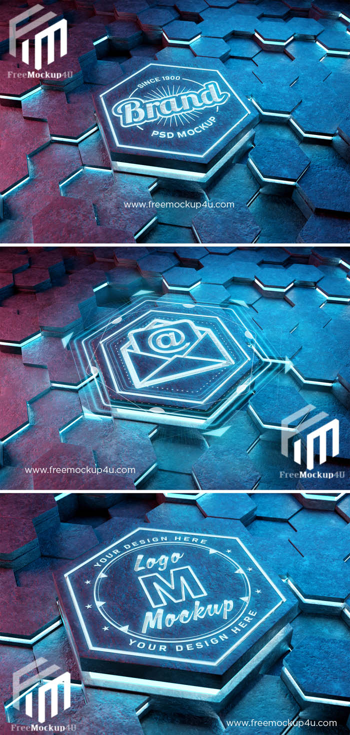 Logo Mockup on Futuristic Hexagon with 3D Glowing Effect