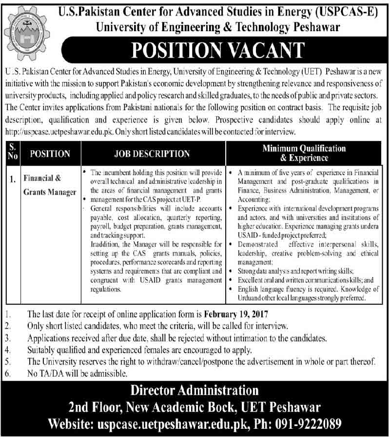 University of Engineering & Technology UET Peshawar jobs 6 Feb 2017