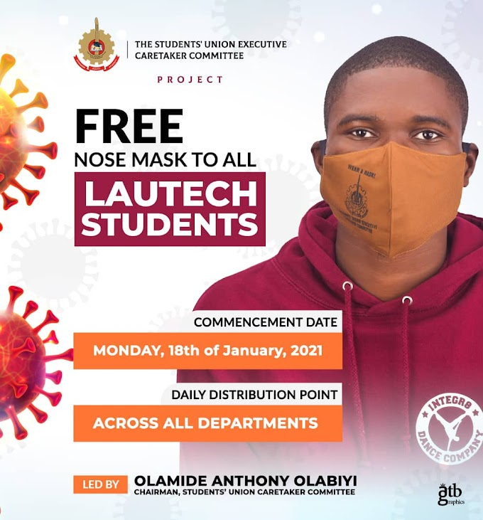 LAUTECH DISTRIBUTES  FREE CUSTOMISED NOSE COVER TO ALL HER STUDENTS