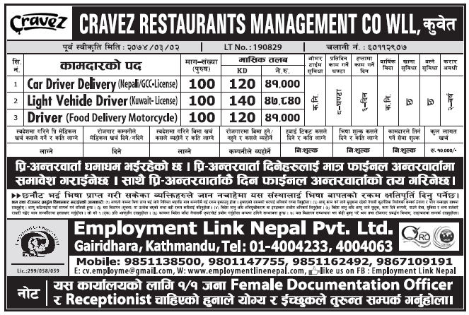 Jobs in Kuwait for Nepali, Salary Rs 47,840