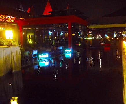 Batu Ferringhi direct at the beach restaurant at night