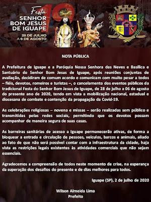 Nota da Prefeitura de Iguape