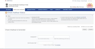 Aadhaar Card Status Online