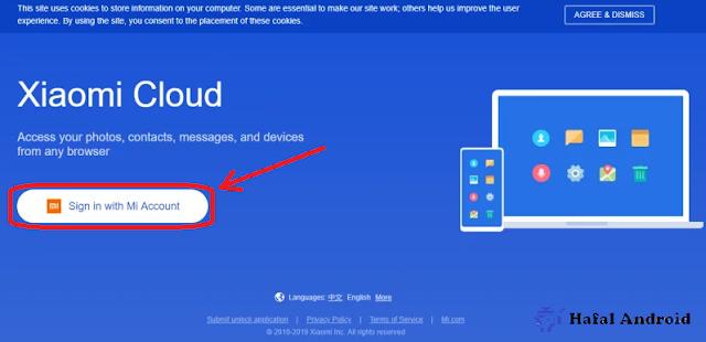 Masuk dengan Akun MI di Mi Cloud