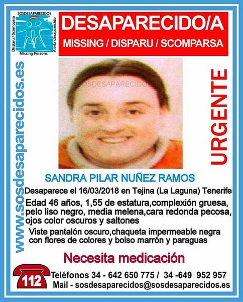 Sandra Núñez Ramos Mujer desaparecida en Tejina, La Laguna, Tenerife (Necesita medicación)