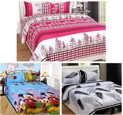 Combo Of 3 Polycotton Double Bedsheet With 6 Pillow Covers