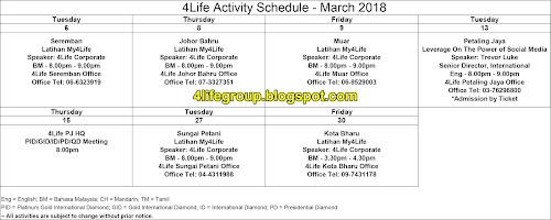 foto Jadual Aktiviti Bulanan Mac 2018 4Life Malaysia