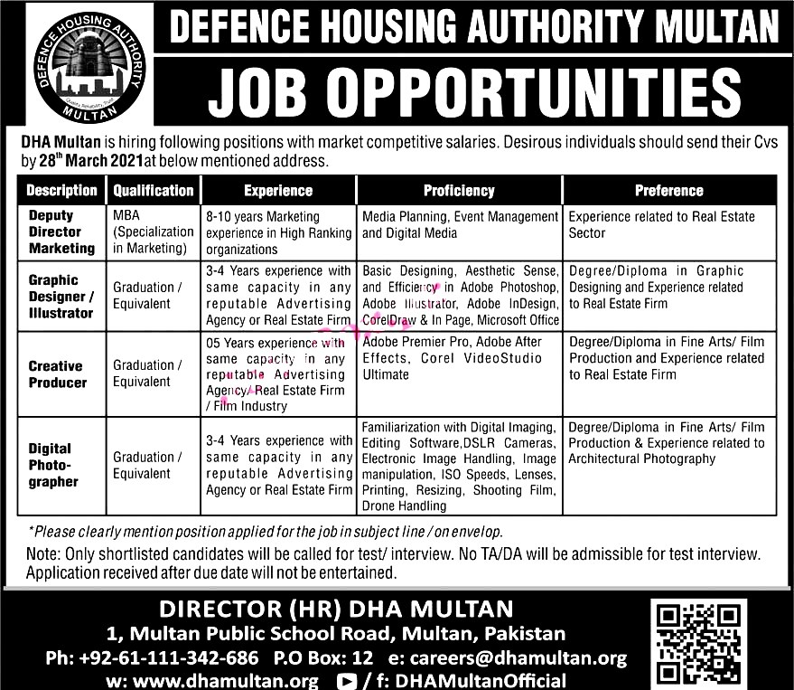 Latest Jobs in Defence Housing Authority DHA Multan 2021