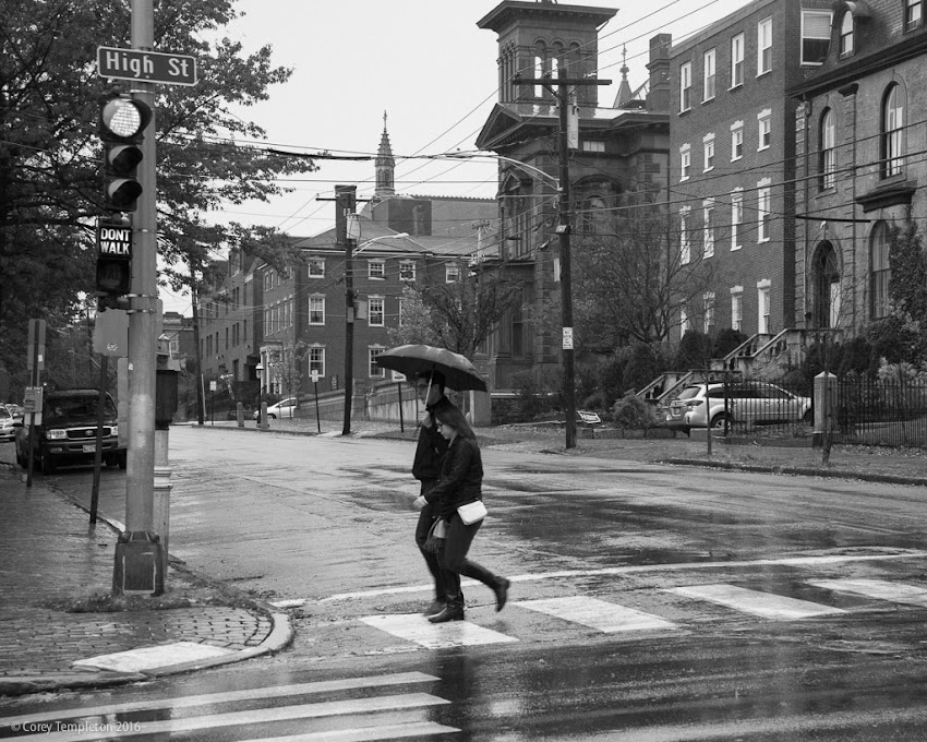 Portland, Maine USA October 2016 black and white photo by Corey Templeton of a rainy fall morning on Danforth Street in the West End.