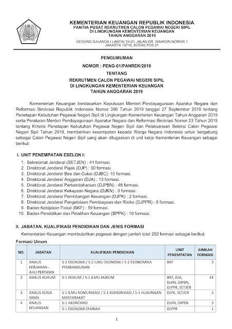 Rekrutmen CPNS Di Lingkungan Kementerian Keuangan Tahun Anggaran 2019