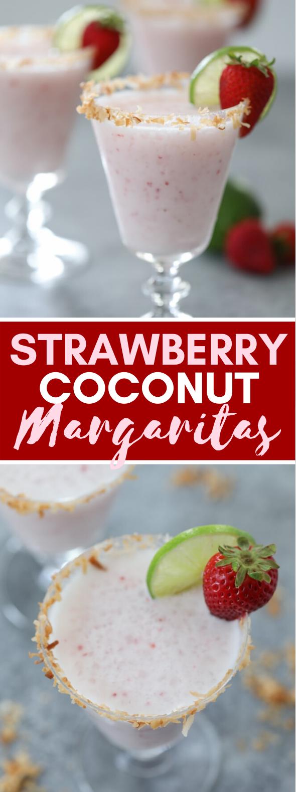 STRAWBERRY COCONUT MARGARITAS #drinks #smoothie