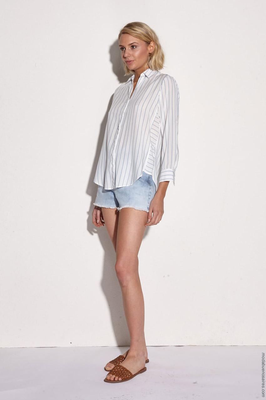 Moda mujer primavera verano 2020 camisas de mujer a rayas.
