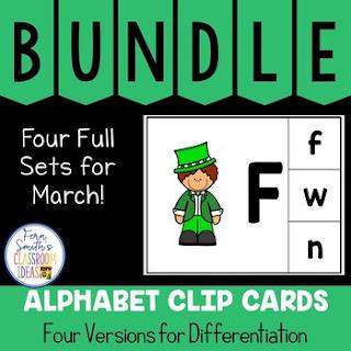 Alphabet Clip Card Center Uppercase & Lowercase March Bundle
