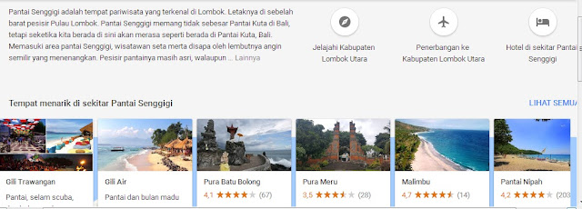 Tujuan wisata seputar Pantai Senggigi , Lombok (sumber foto : panduan perjalanan Google)