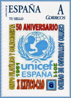 Sello personalizado en el Centro Asturiano con motivo del 50 aniversario de UNICEF España