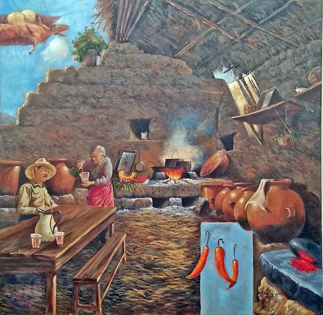 Pintura al óleo, la picantería arequipeña