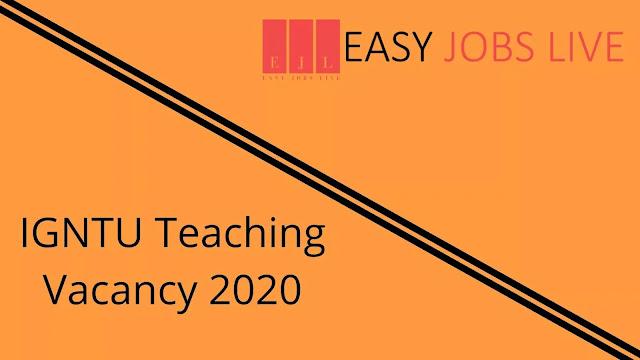 IGNTU Teaching Vacancy 2020