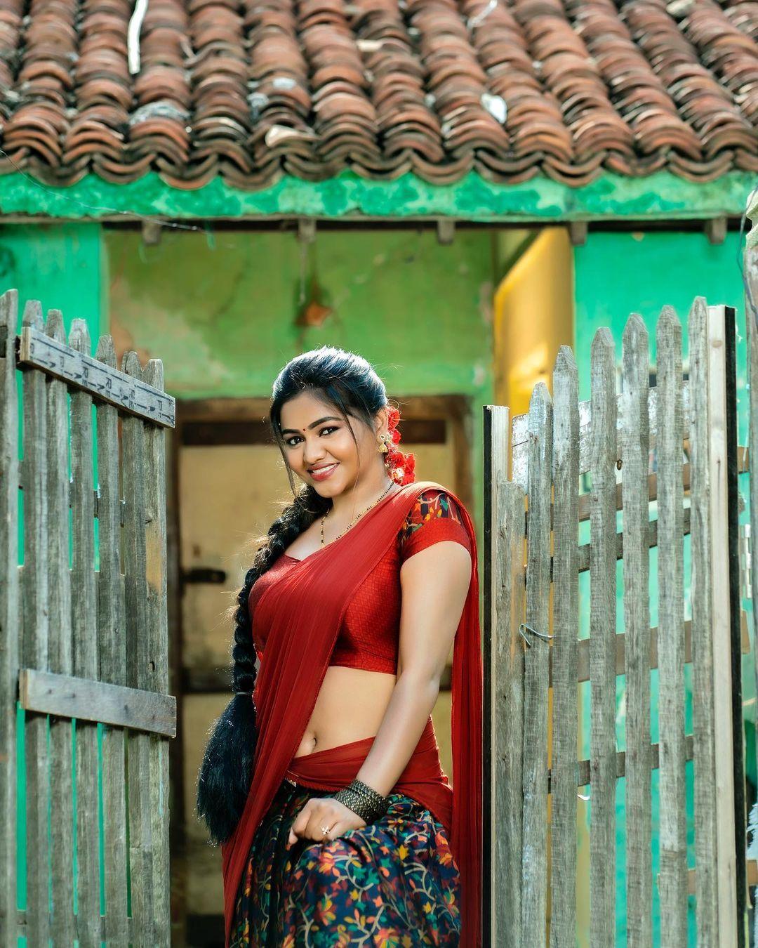 Tamil Actress Shalu Shamu Latest Hot Photos in Red Half Saree