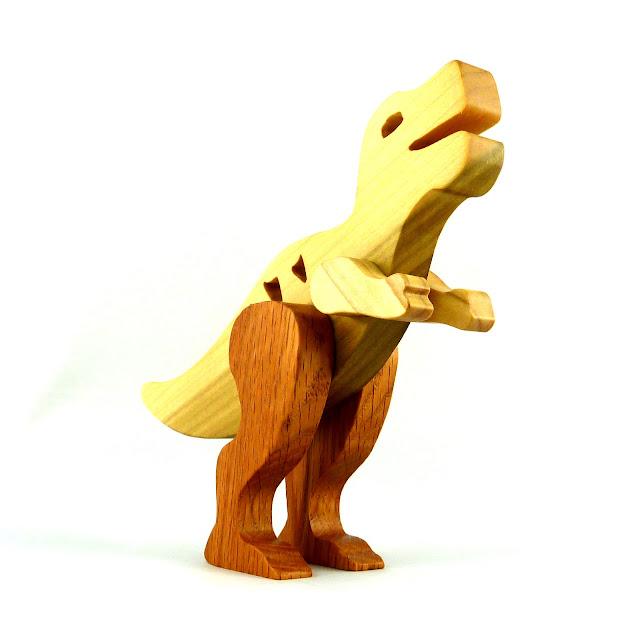 Handmade Wood Toy Dinosaur Tyrannosaurus Rex T-Rex Made From Poplar and Oak