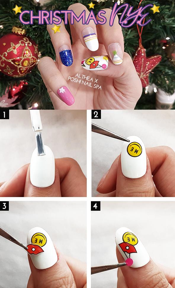 Christmas NYE Party Ready Nail Art by Rachel Yap, Posh! Nail Spa ...