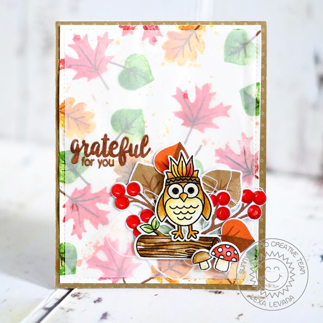 Sunny Studio Stamps: Fall Owl Card by Lexa Levana (using Autumn Splendor, Harvest Happiness & Woodsy Creatures)