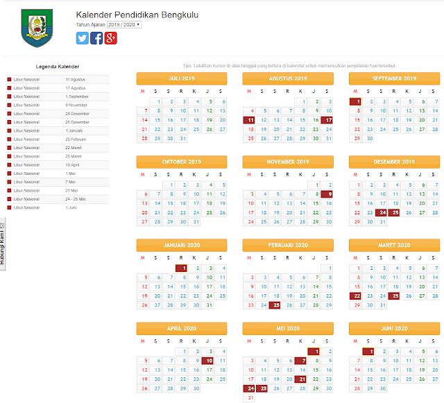 kalender pendidikan provinsi bengkulu 2019/2020