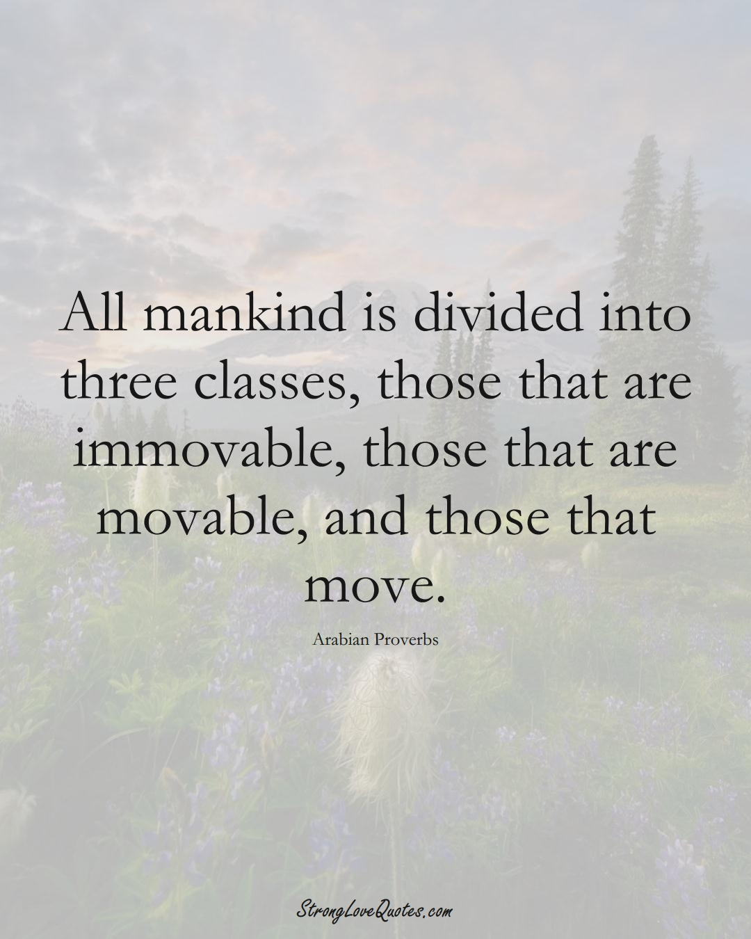 All mankind is divided into three classes, those that are immovable, those that are movable, and those that move. (Arabian Sayings);  #aVarietyofCulturesSayings