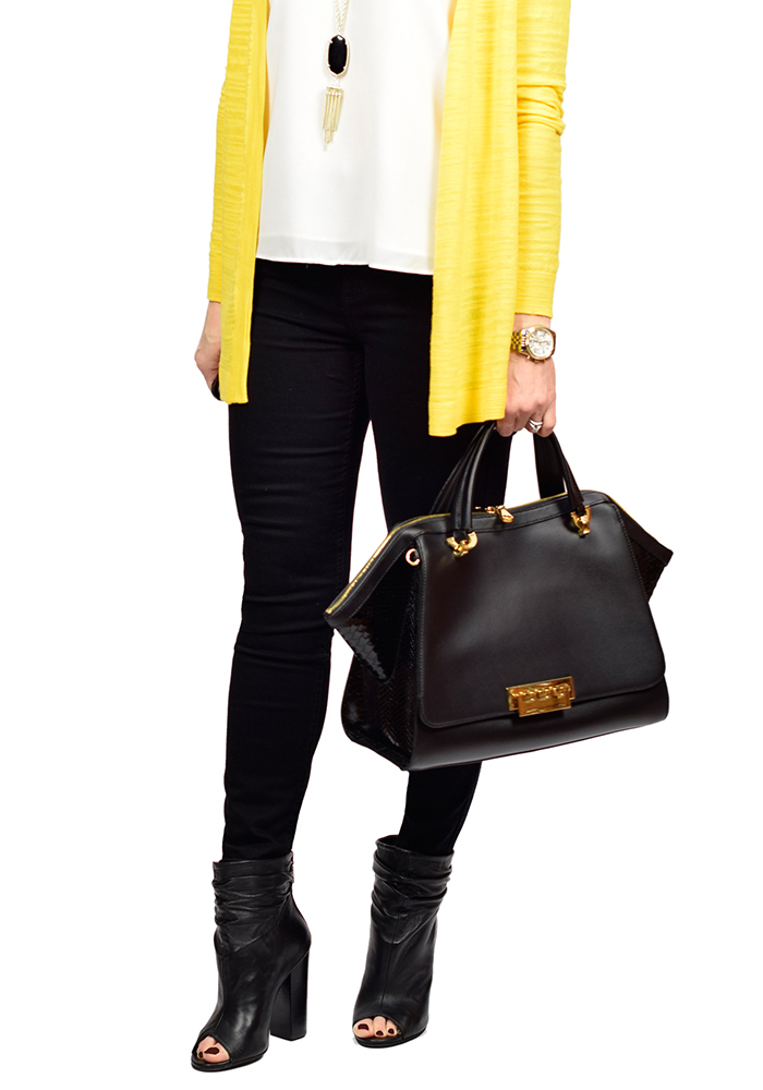 yellow cardigan, kendra scott rayne necklace