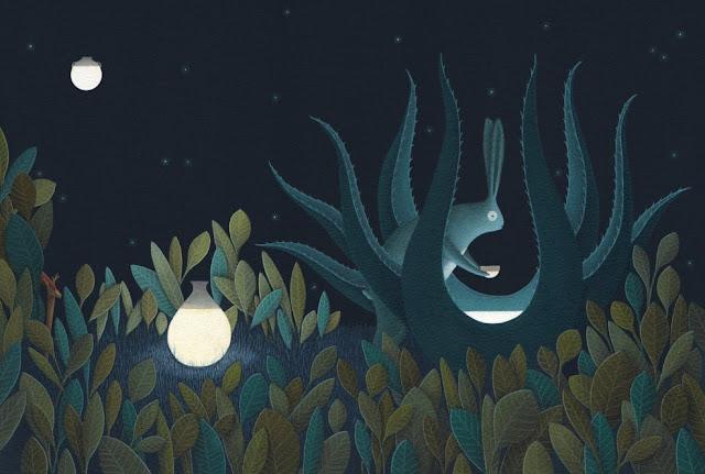 La leyenda del conejo en la luna, ilustrado por David Álvarez.