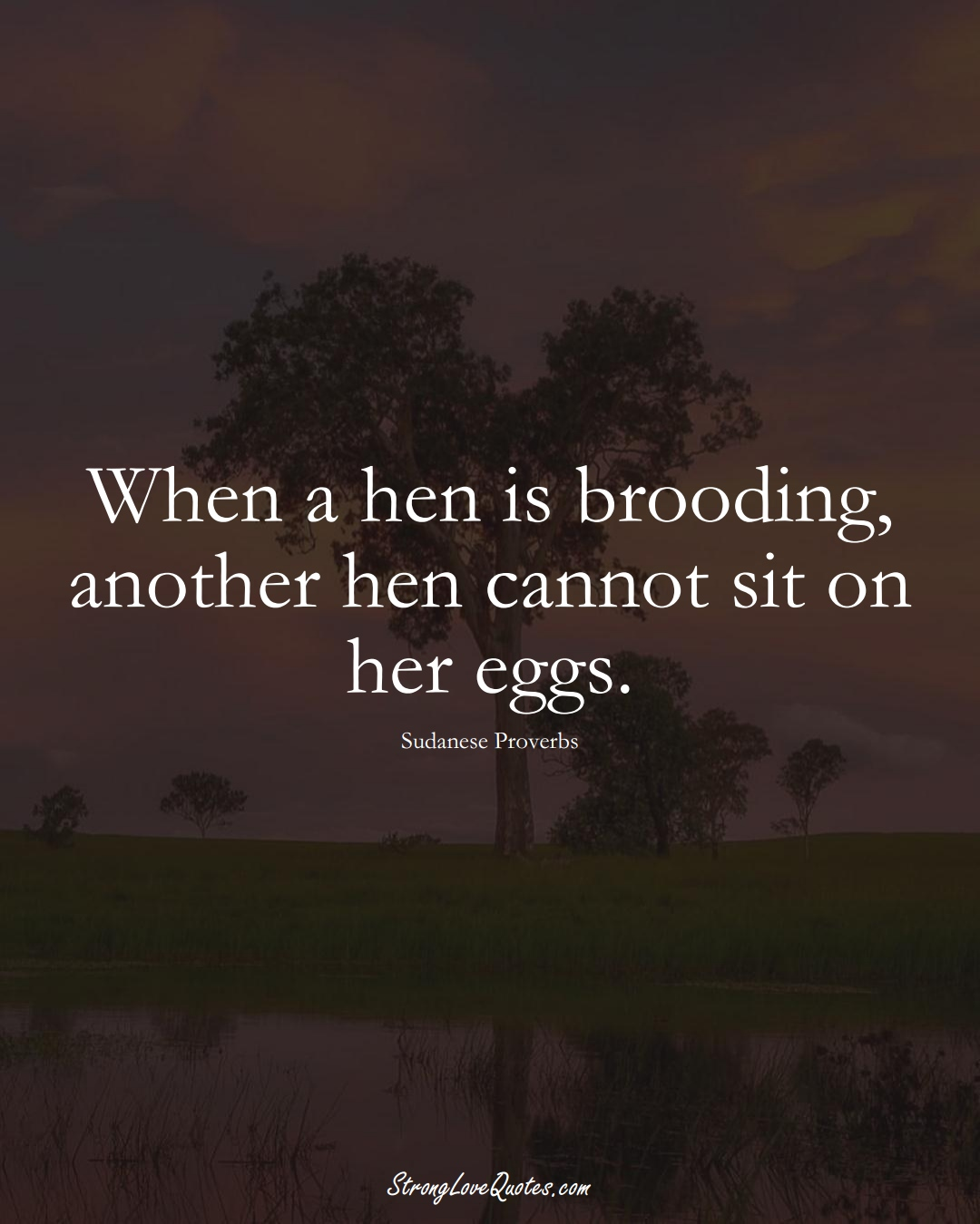 When a hen is brooding, another hen cannot sit on her eggs. (Sudanese Sayings);  #AfricanSayings