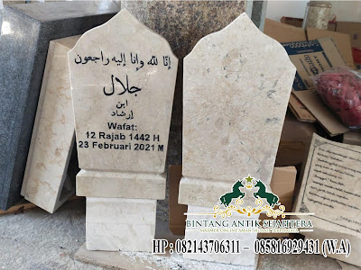 Nisan Patok Batu Alam, Contoh Nisan Patok Marmer, Nisan Patok Kuburan Muslim