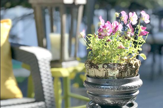 Repurposed Lamp Parts Pedestal Planter