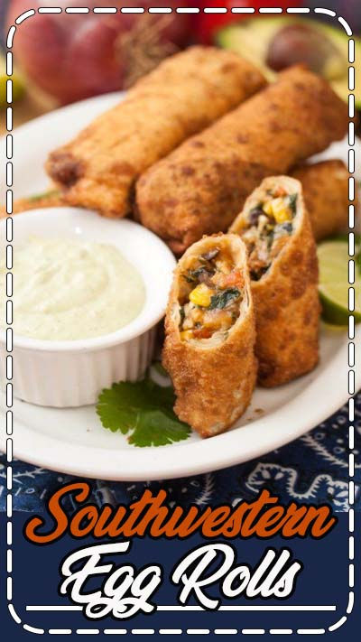 With Super Bowl upon us tomorrow, I thought it was only prudent to share a great appetizer recipe with you before the big game! I've wanted to make these guys for a couple years now, but just never managed to get around to it. Traditional homemade egg rolls are one of our very favorite things ever, and we love Mexican food – so it was totally no surprise when we all loved them! Corn, red pepper, black beans, red onion, spinach, garlic, and cilantro are given a quick saute to soften.