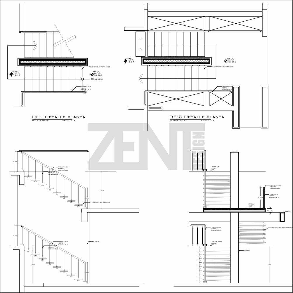 Escaleras metalicas planos metal stairs zent design 2d for Silla escalera plegable planos