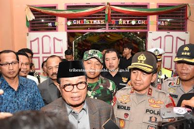 Kapolda Dan Gubernur Jambi Bersama Kasrem 042/Gapu, Pantau Pengamanan Malam Natal Tahun 2019