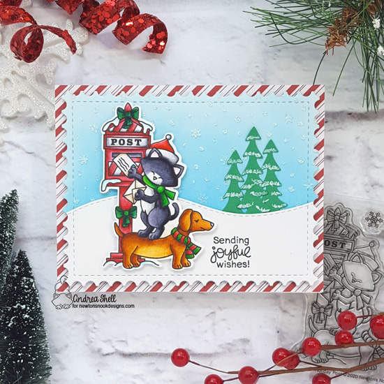 Cat and Dog mailing holiday letters card by Andrea Shell | Holiday Post Stamp Set, Framework Die Set, Forest Scene Builder Die Set and Petite Snow Stencil Set by Newton's Nook Designs #newtonsnook #handmade