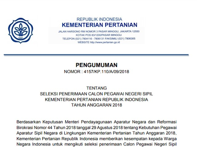 Formasi dan Persyaratan Pendaftaran CPNS 2018 Kementerian Pertanian