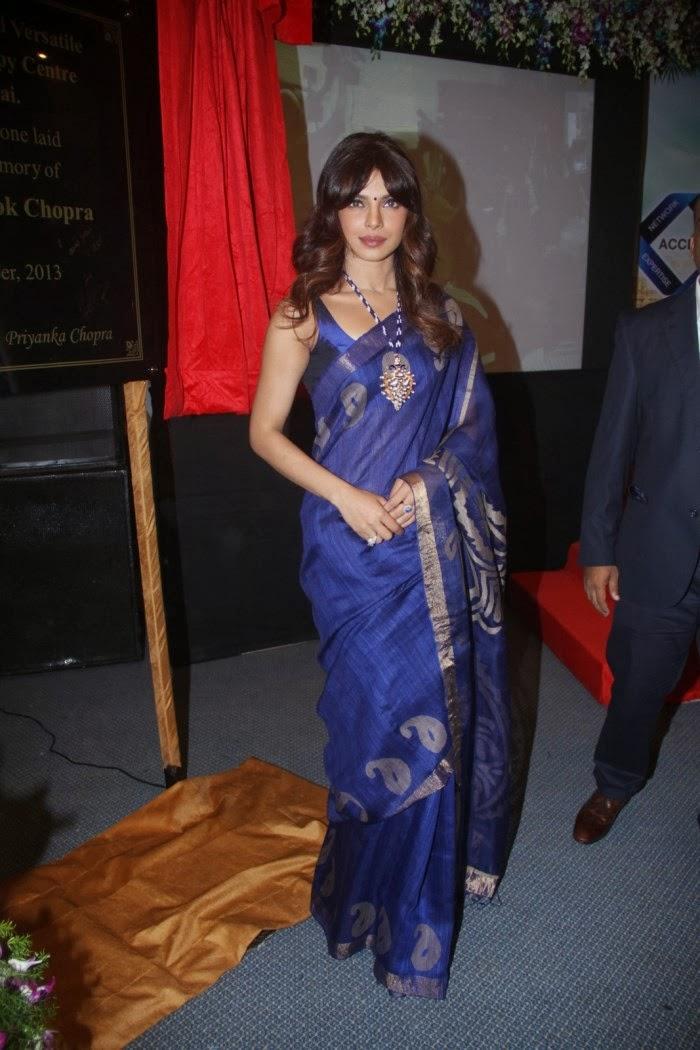 Priyanka Chopra Sexy Blue Saree Photos With Sleeveless -9720