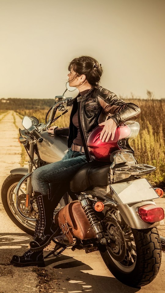 Girl & Motorcycle Android Best Wallpaper