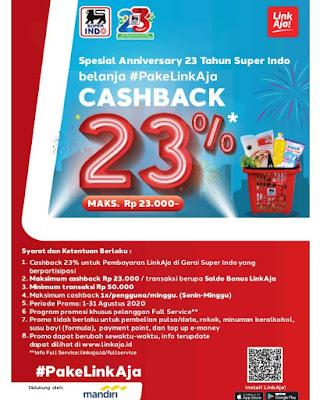 #Promosi247 #Superindo - #Promo Cashback 23% Pakai LinkAja di Special Anniversary 23 tahun (s.d 31 Agustus 2020)