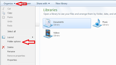1. Buka Explorer > Organize > Folder Option.