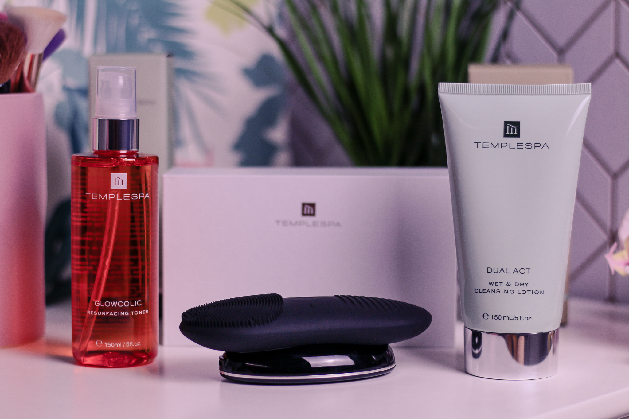Close up of Temple Spa products