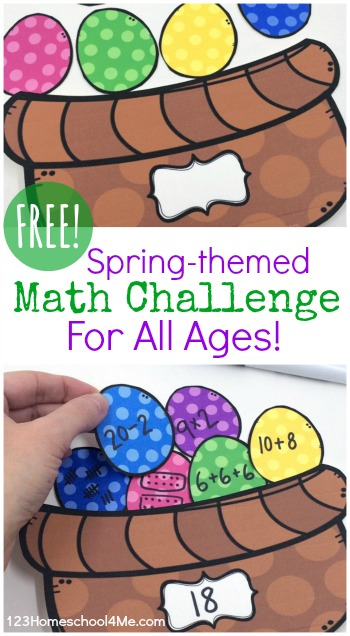 FREE Easter Basket Math Challenge - This is such a fun math activity for easter that allows kids to practice various math concepts like addition, subtraction, multiplication, division, tally marks, number words, and more for kindergarten, first grade, 2nd grade, 3rd grade, 4th grade, 5th grade, 6th grade, 7th grade, 8th grade. (homeschool, math center, spring bulletin boards)