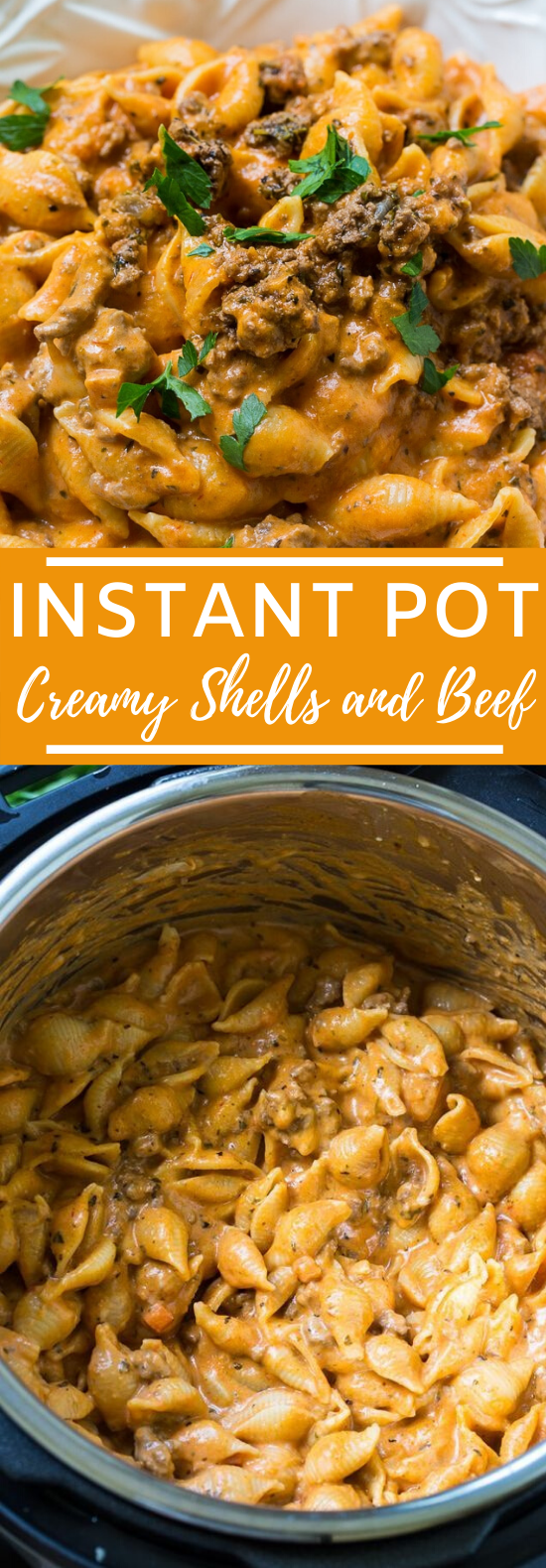 Instant Pot Creamy Shells and Beef  #dinner #recipe #pasta #instantpot #comfortfood