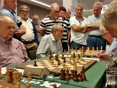 Partida ajedrez Jaume Anguera - René Mayer, XIV Campeonato de España de Ajedrez para Veteranos